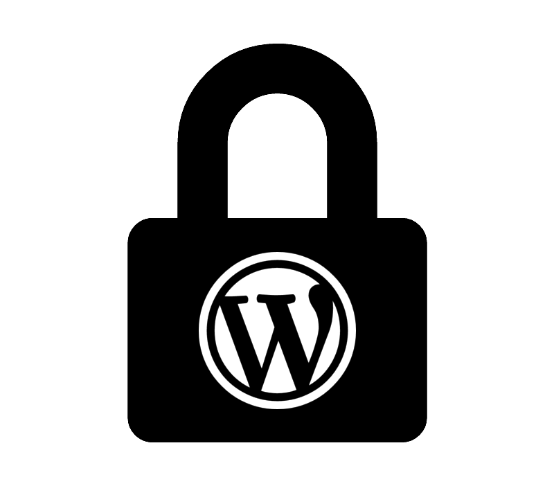 wordpress logo in a lock