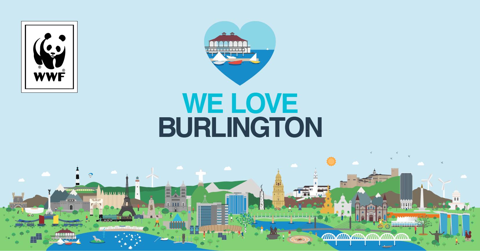 we love burlington postcard