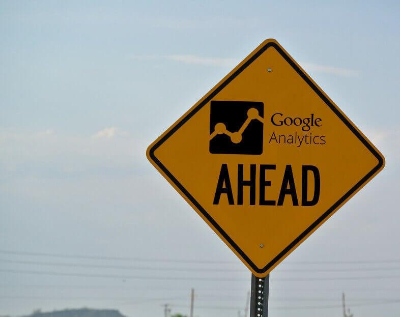 "Photo of orange ""construction style"" road sign reading ""Google Analytics Ahead"""