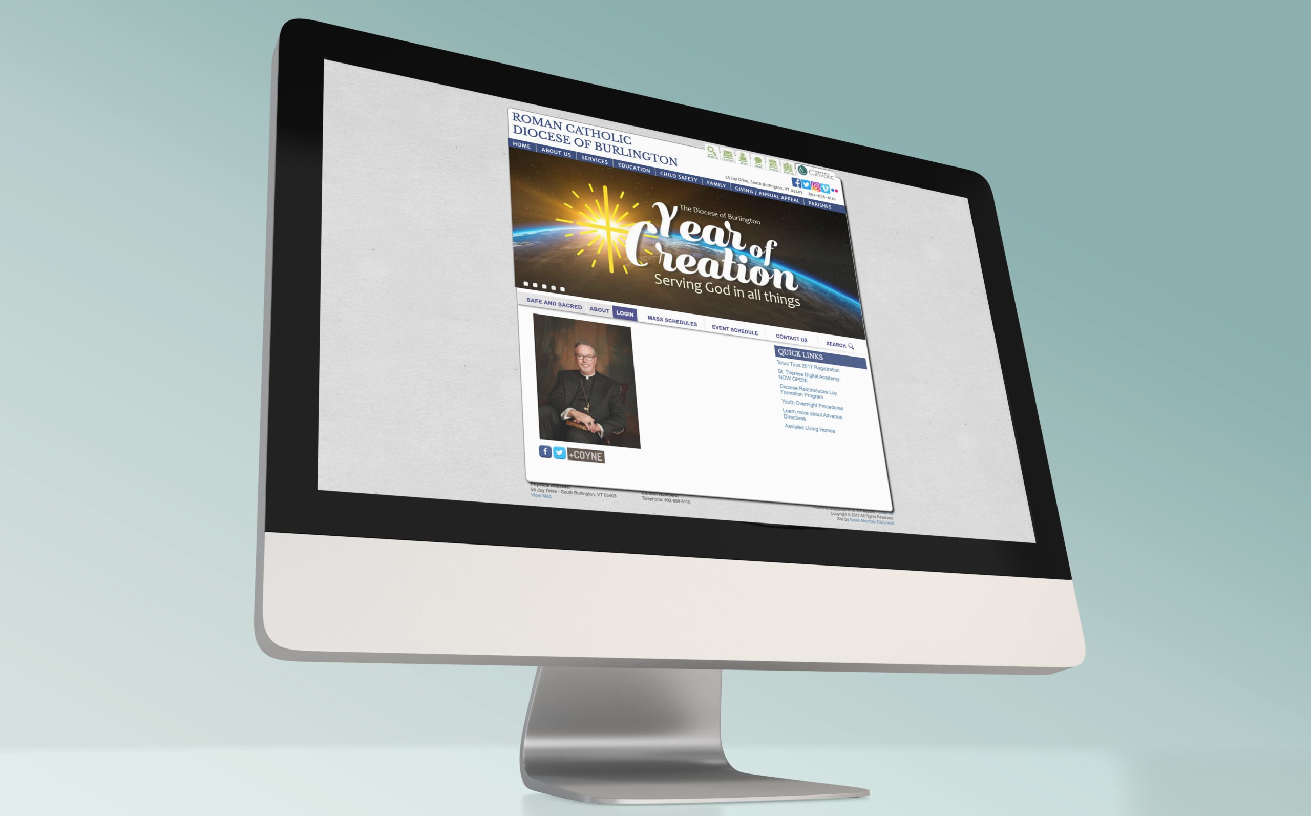 Vermont Catholic's Old Website on Desktop