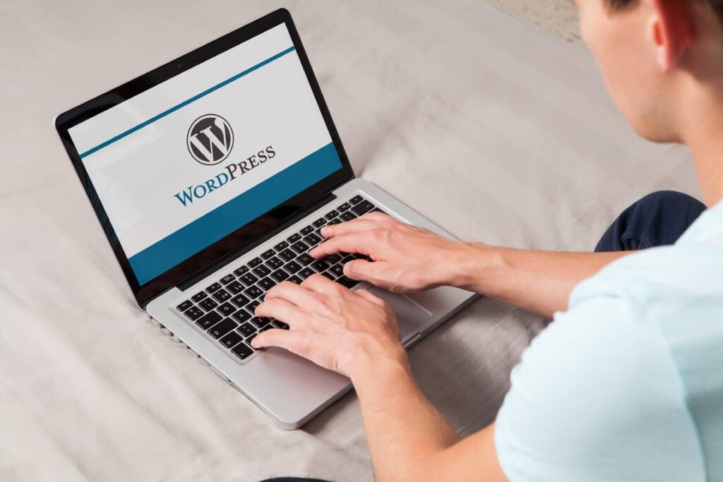 person on wordpress on laptop