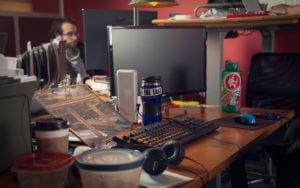 Aaron at desk working