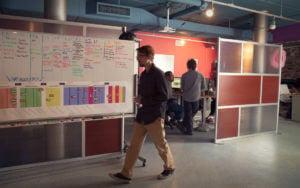 Jason walking through the office