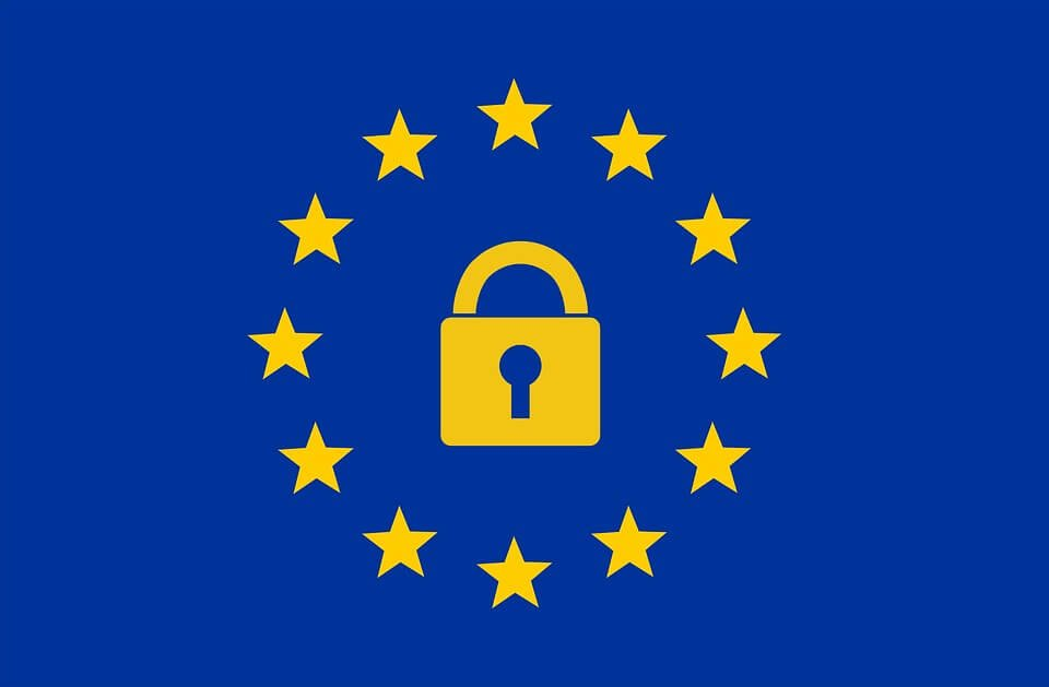 a yellow lock and stars on blue background