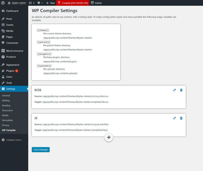 WP Compiler Settings