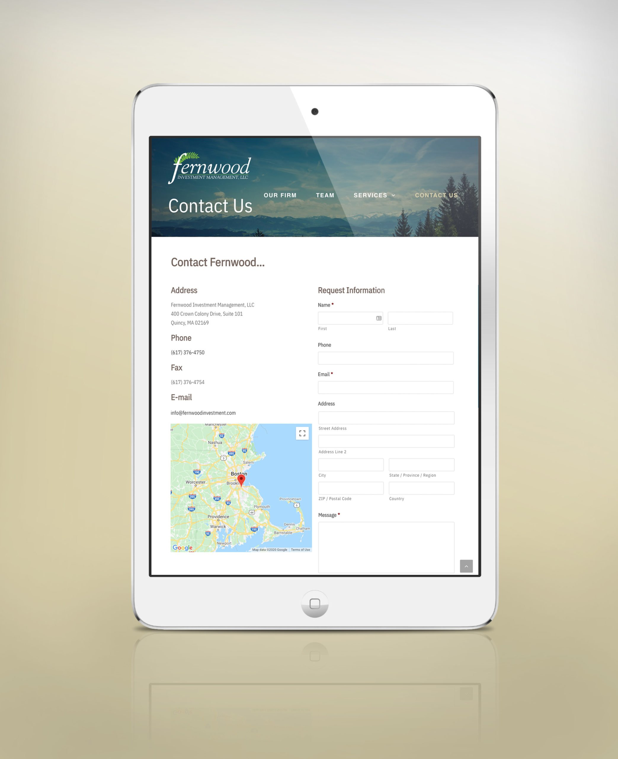 fernwood on ipad - contact page