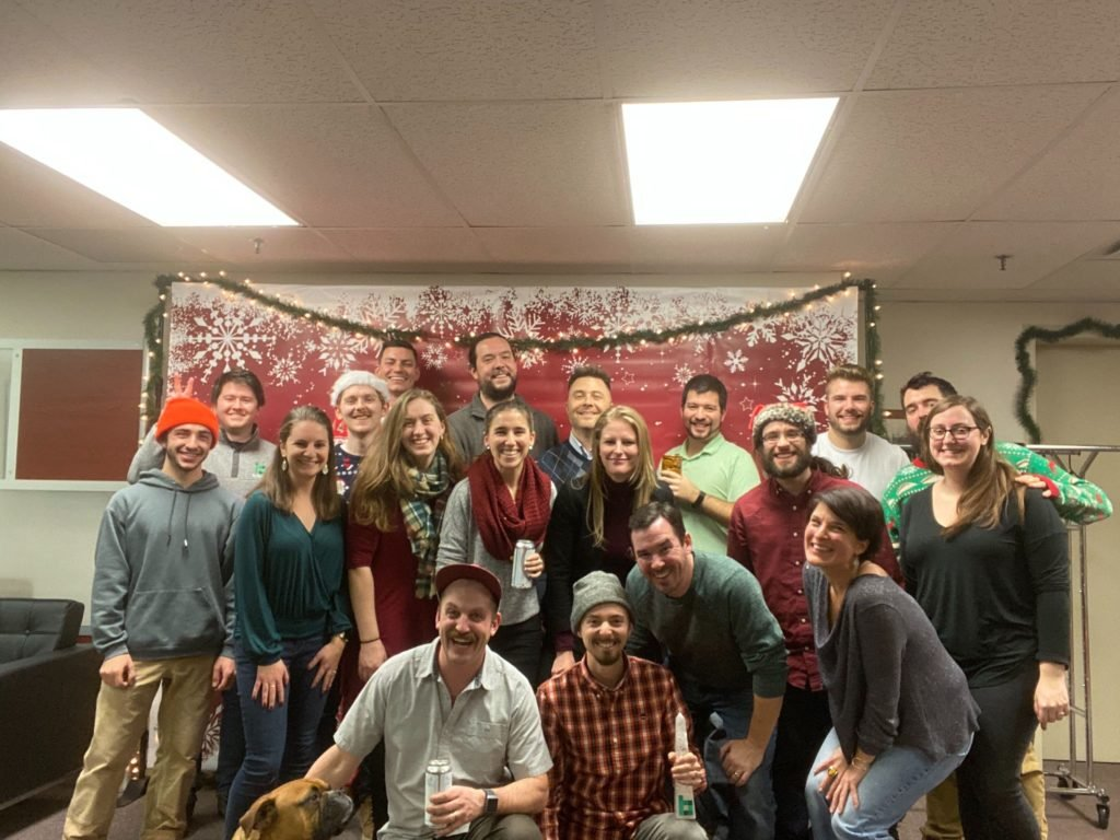 Bytes team picture at Christmas party