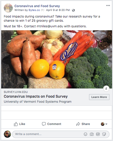 coronavirus food survey ad for uvm