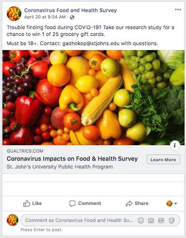 coronavirus food survey ad for st. john's hospital