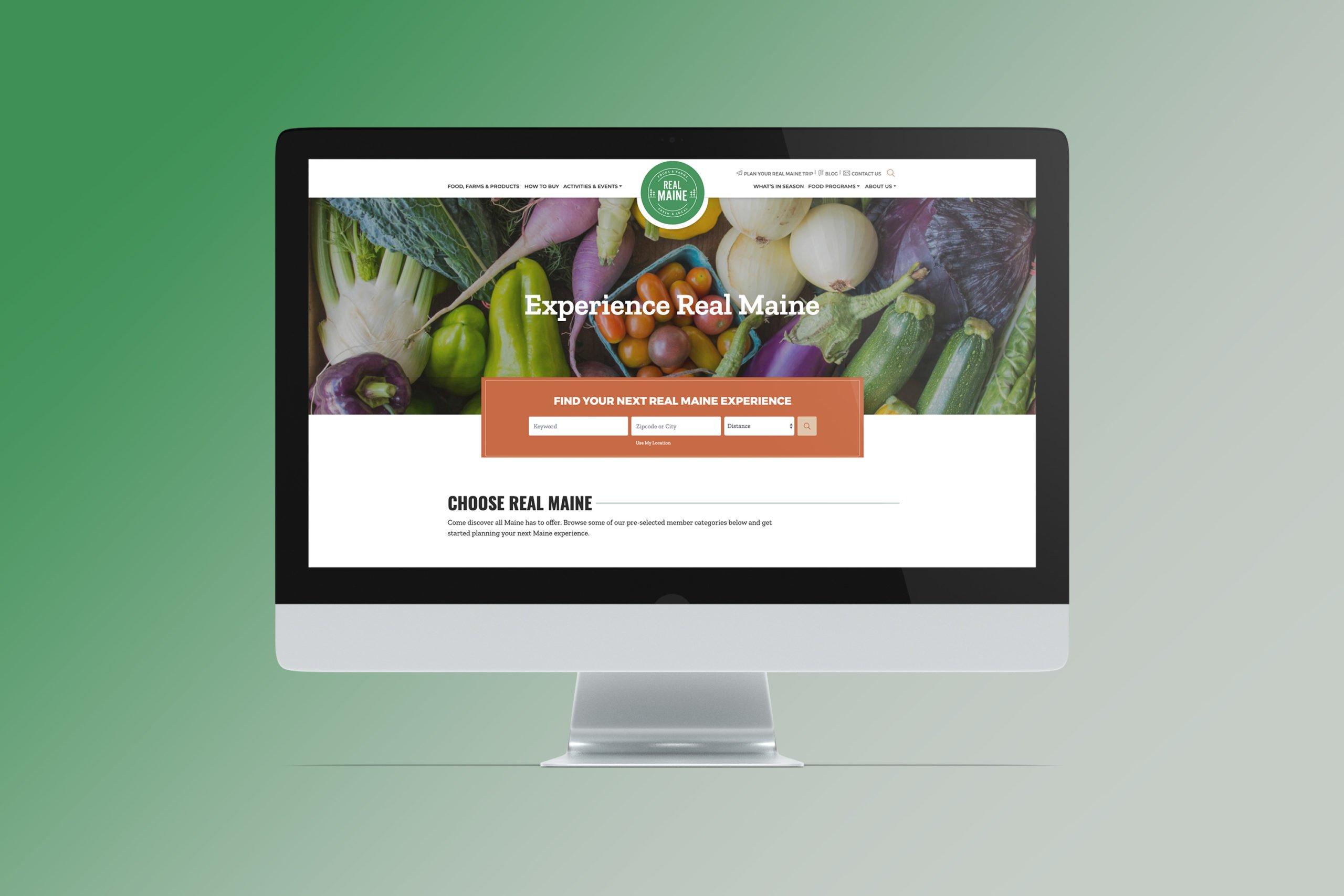 Get real maine homepage on desktop