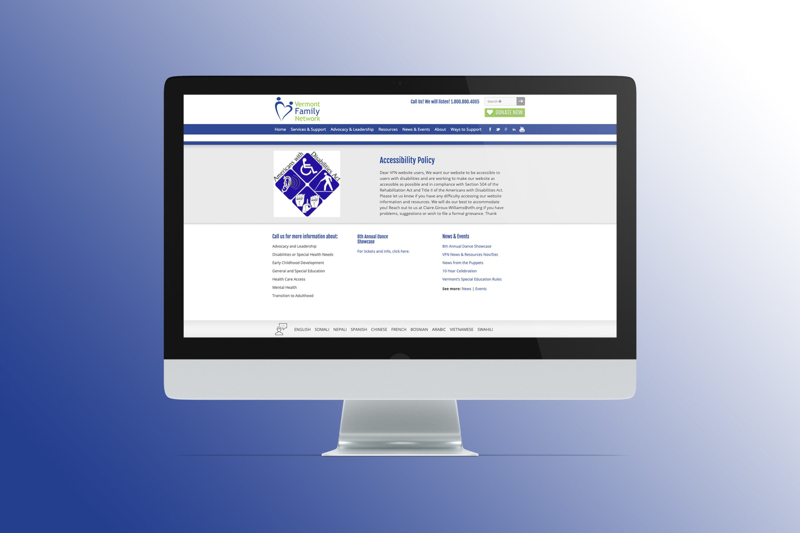 Vermont Family Network homepage before redesign on a desktop