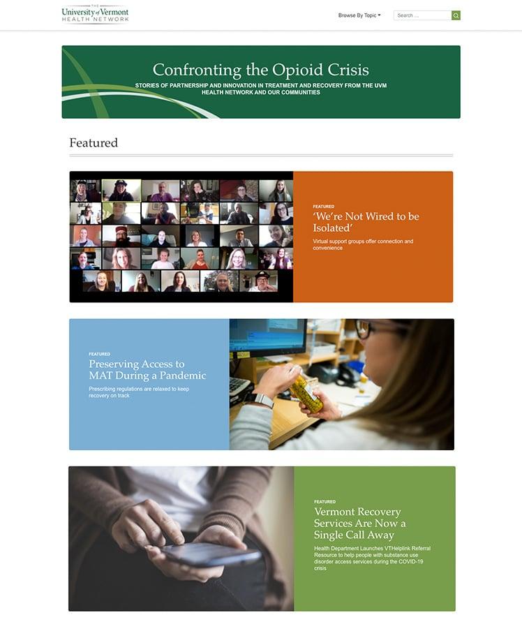Primary image for UVM Health News, Opioid Website