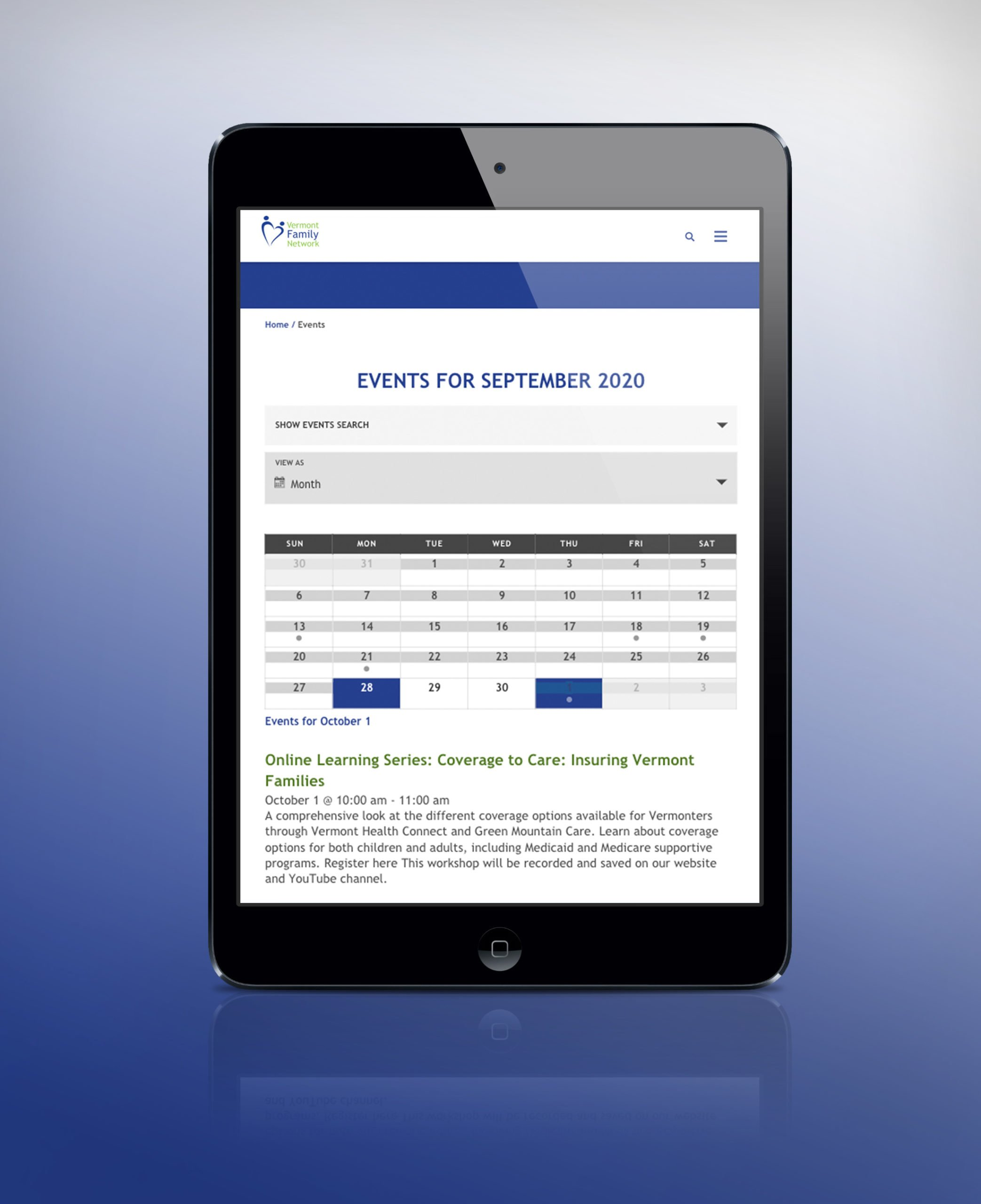 Vermont Family Network Events page on an ipad