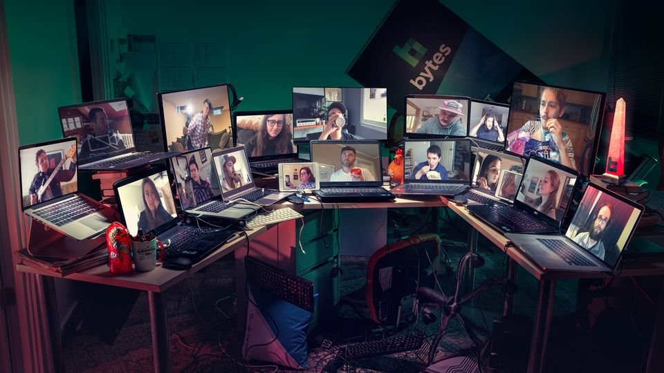 Bytes Company Photo - everyone on laptops facetiming in