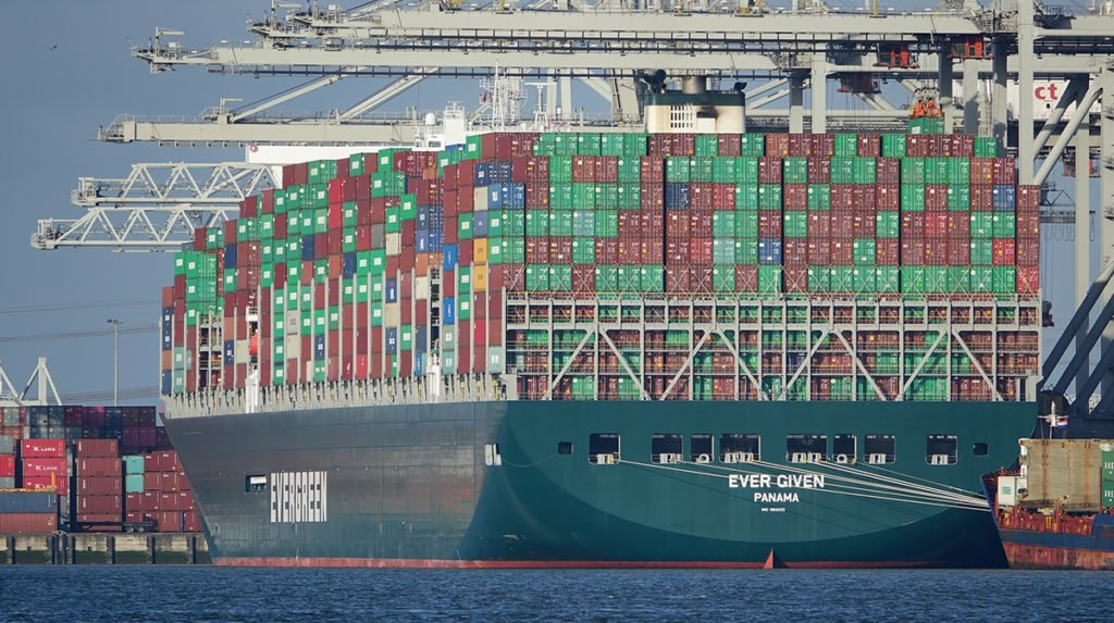 The Evergreen container ship being loaded at port