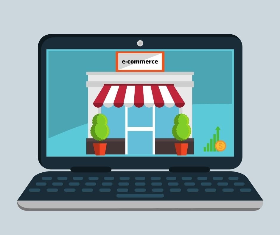 """image of a laptop with an """"e-commerce' store"""