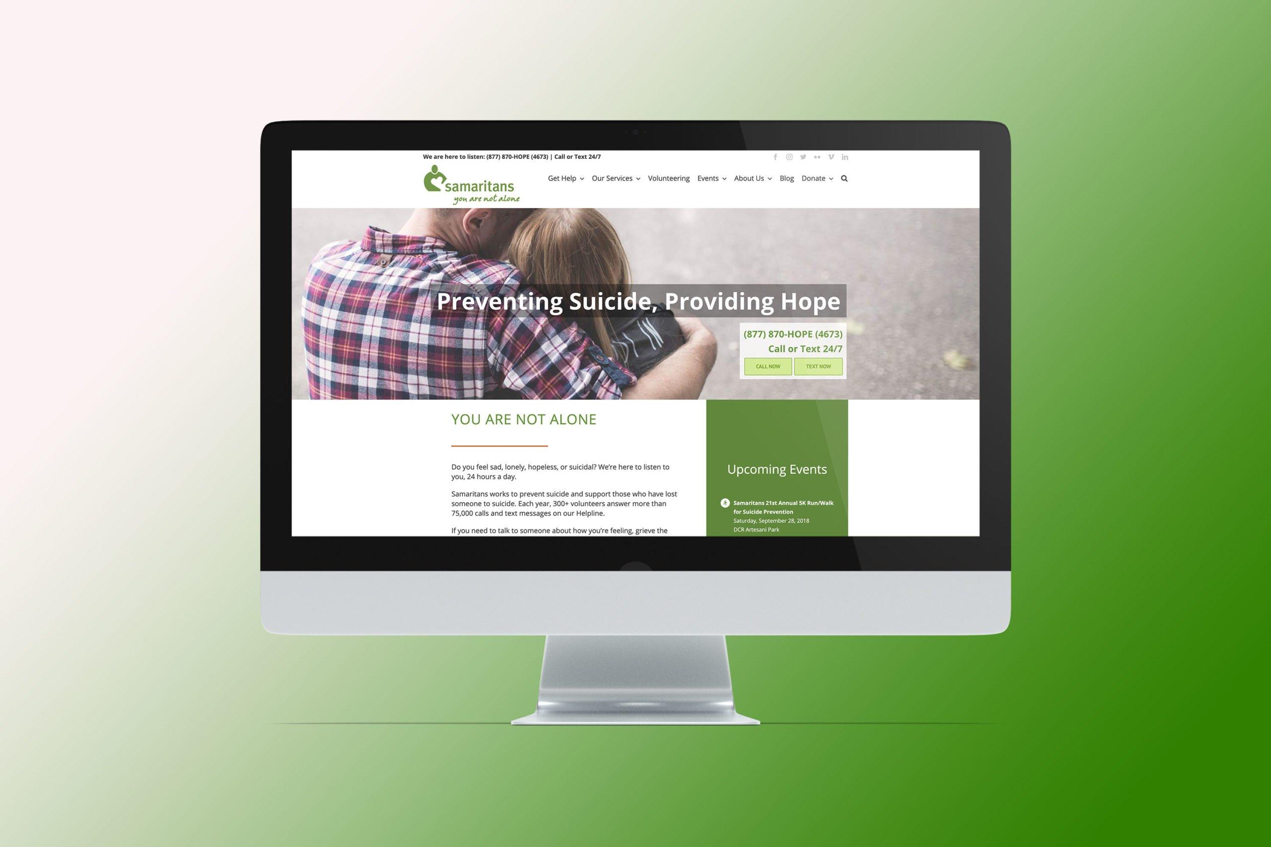 desktop view of the old samaritans website