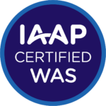 IAAP WAS circular badge logo for International Association of Accessibility Professionals (IAAP) Web Accessibility Specialist (WAS) credential. A dark blue circle with three lines of centered white text that read: IAAP WAS Certified. There is a smaller light blue circle that surrounds the dark blue inner circle that designates the WAS credential color scheme.